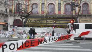 A police cordon is seen in front of the music hall Bataclan in Paris on December 13, 2015, a month after the Paris terror attacks on November 13, 2015.