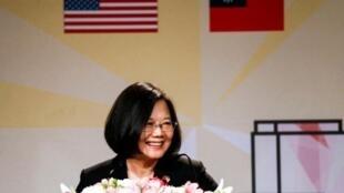 台湾总统蔡英文于美国洛杉矶发表讲话资料图片