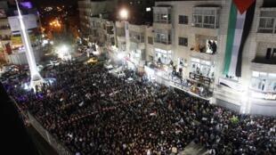 Les rues de Ramallah en Cisjordanie noires de monde après l'annonce du vote positif de l'Assemblée générale des Nations unies, le 29 novembre 2012.