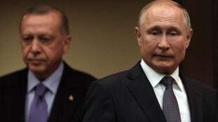رجب طیب اردوغان، رئیس جمهوری ترکیه و ولادیمیر پوتین همتای روس وی در آنکارا. ٢۵ شهریور/ ١۶ سپتامبر ٢٠۱٩