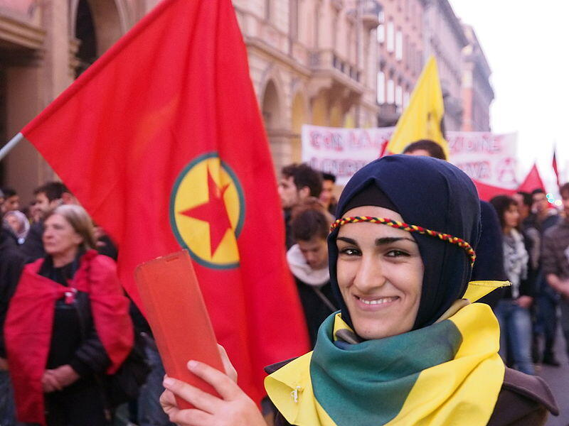 Kurdish protests against Kobane siege of IS armed group, Bologna, Italy (2014)