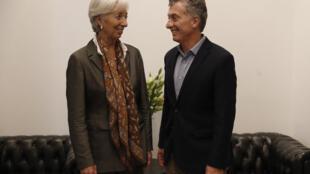 La directrice générale du FMI Christine Lagarde, en compagnie du président de la Nation argentine Mauricio Macri, en mars 2018 à Buenos Aires.