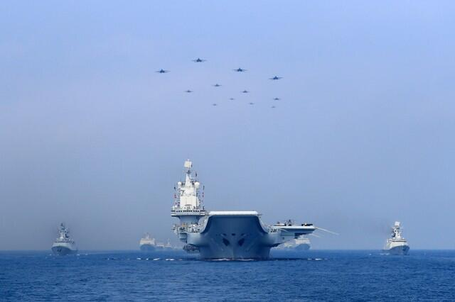 參加南海軍演的中國海軍艦隊,2018年4月12號