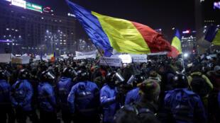 Manifestations anticorruption à Bucarest, 01/02/2017.