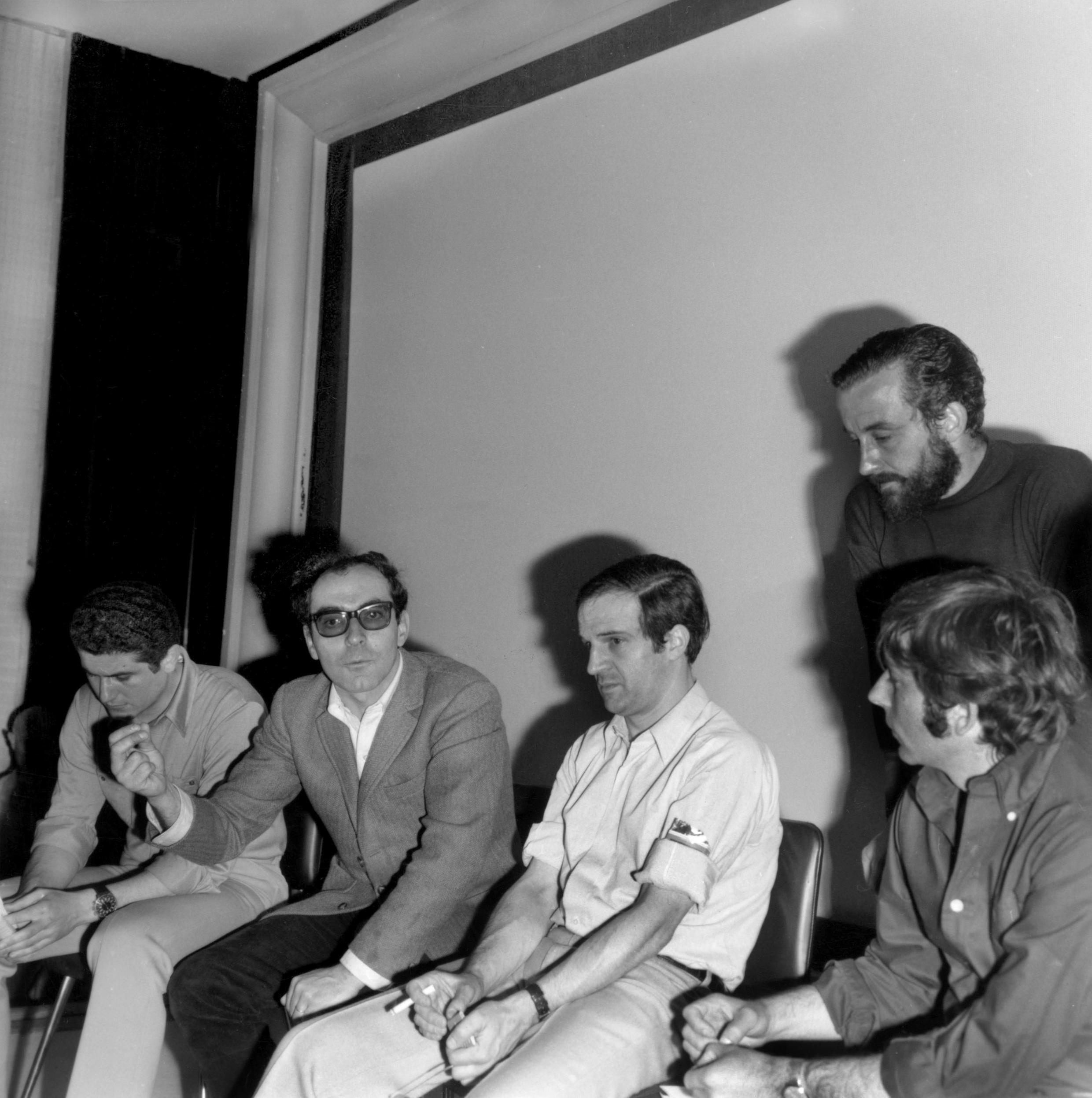 Directors On Strike<br>Directors Claude Lelouch, Jean-Luc Godard, Francois Truffaut, Roman Polanski and Louis Malle (standing) on strike during the Cannes Film Festival 1968