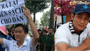 Ông Lưu Văn Vịnh trong một cuộc biểu tình bảo vệ môi trường.