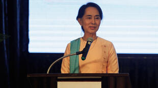 La députée Aung San Suu Kyi, lors d'un discours prononcé à Rangoon, le 29 juin 2014.