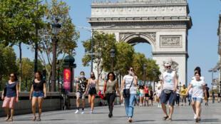 Arc de Triomphe, Khải hoàn môn, Paris, Pháp, vắng khách du lịch thời Covid-19. Ảnh minh họa.