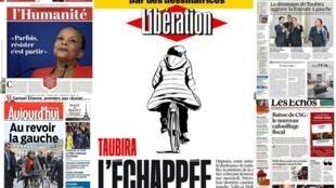 Capa dos jornais L'Humanité, Libération, Le Figaro, Les Echos e Aujourd'hui en France desta quinta-feira, 28/01/16.