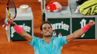 Spain's Rafael Nadal celebrates after winning his quarter final match against Italy's Jannik Sinner.