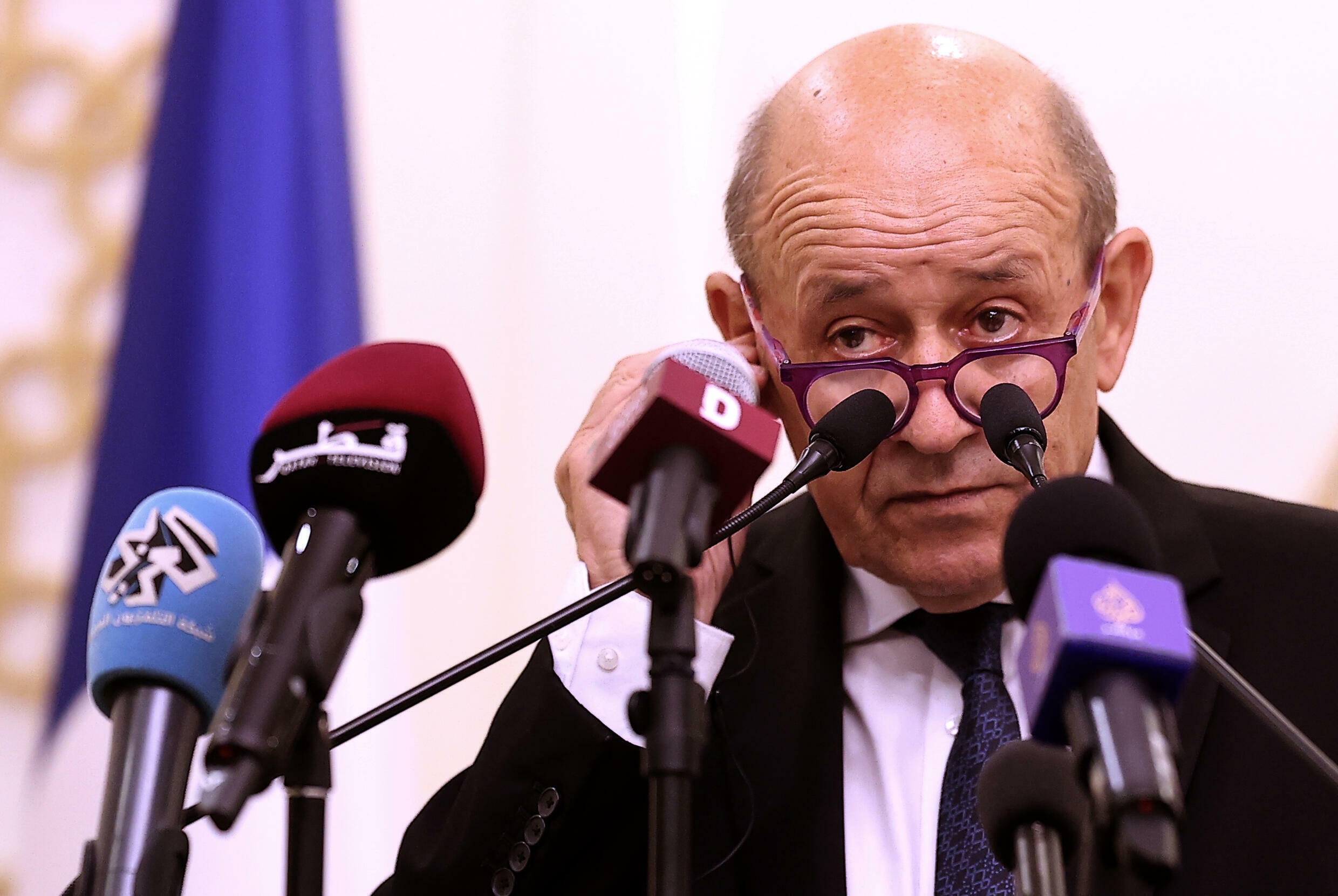 French Foreign Minister Jean-Yves Le Drian, who has voiced anger over Australia's scrapping of a submarine deal, speaks in Doha on September 13, 2021