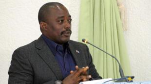 Le président congolais Joseph Kabila, en octobre 2014, à Beni.