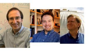 Les Américains Saul Perlmutter et Adam Riess ainsi que l'Australo-Américain Brian Schmidt (de g. à dr.) se sont vu décerner le Nobel de physique 2011.
