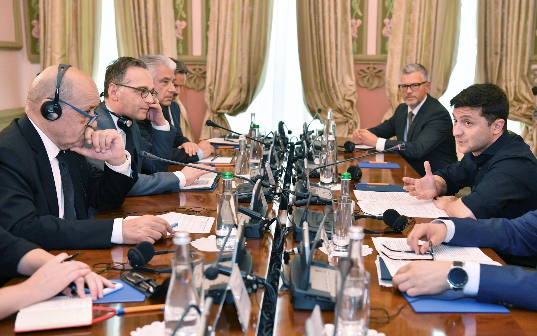 Переговоры Жан-Ива Ле Дриана и Хайко Мааса с Владимиром Зеленским в Киеве