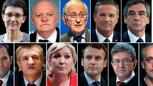A combination picture shows the eleven candidates who will take part in a prime-time televised debate on April 4, 2017 as part of the French 2017 presidential election campaign.