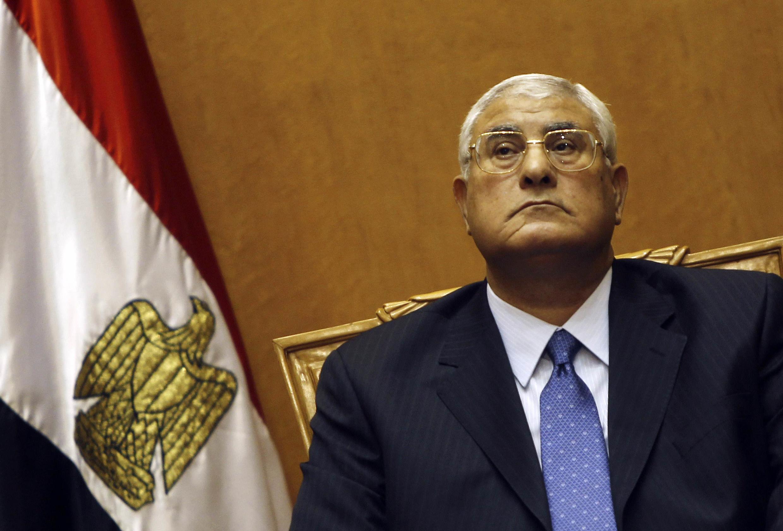 Le président par intérim Adly Mansour lors de sa prestation de serment le 4 juillet au Caire.