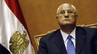 Le président par intérim Adly Mansour lors de sa prestation de serment, le 4 juillet 2013 au Caire.