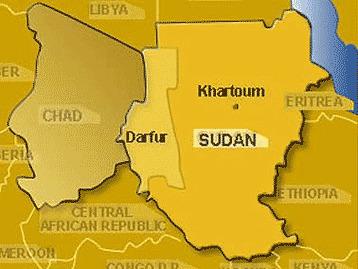 Ramani ya eneo la Sudan, Darfur.