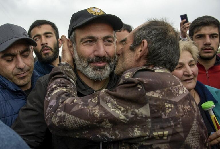 Nikol Pashinyan, le leader de l'opposition lors d'une marche à Gyumri, le 27 avril 2018.