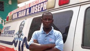 Foday Gallah est le chef de l'équipe d'ambulanciers rendu célèbre pour son combat contre l'épidémie d'Ebola au Liberia et en Sierra Leone.