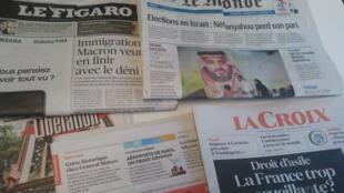 Primeiras páginas dos jornais franceses 18 de setembro de 2019