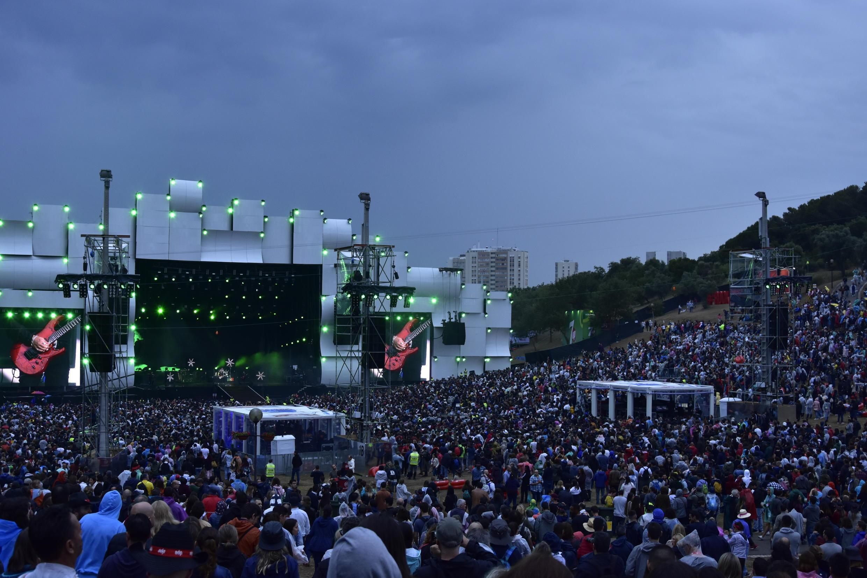 Uma multidão durante o concerto, no Rock in Rio, da banda de rock portuguesa Xutos & Pontapés  Parque Bela Vista em Lisboa. 29 de Junho de 2018.