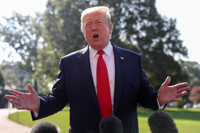O presidente dos EUA Donald Trump durante coletiva de imprensa no jardim da Casa Branca, em Washington, em 30 de julho de 2019.