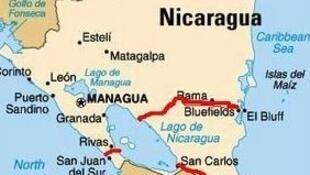 Trazado del futuro Canal Interoceánico de Nicaragua.