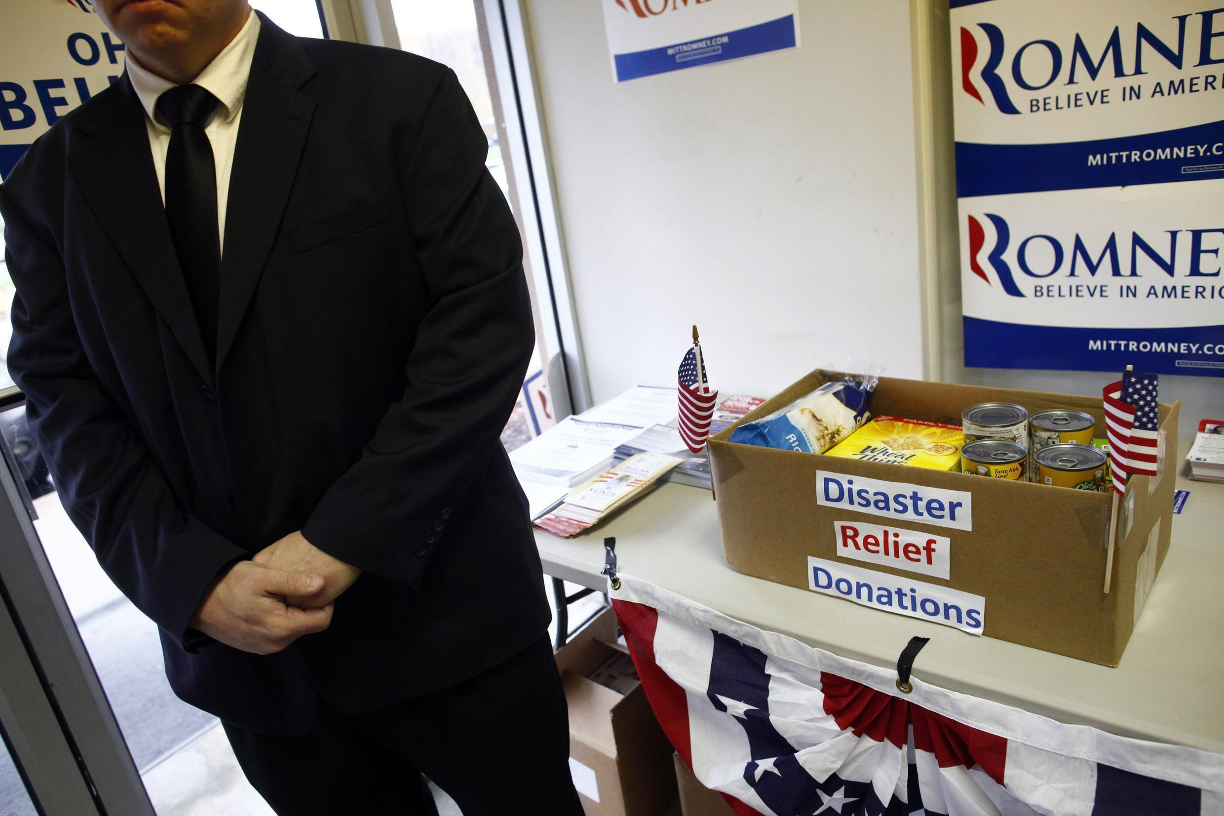 A box containing donations for disaster relief for Hurricane Sandy victims at the state's campaign headquarters for Mitt Romney