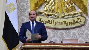 Presidente Abdel Fattah Al Sisi en el  Cairo, junio 2018