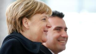 Thủ tướng Đức Angela Merkel tiếp đồng nhiệm Macedonia Zoran Zaev tại Berlin, ngày 21/02/2018.