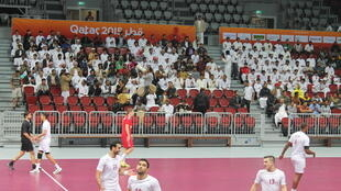 Les supporters s'entraînent à faire des olas, lors d'un match amical de handball.