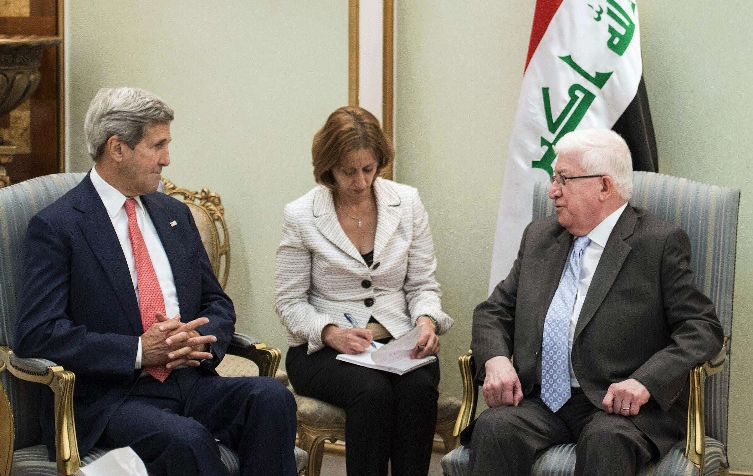 Waziri wa Marekani mwenye dhamana ya mambo ya nje, John Kerry (kushoto), akikutana kwa mazungumzo na rais wa Iraq, Fouad Massoum mjini Baghdad,Septemba 09 mwaka 2014.
