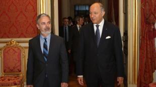 O chanceler brasileiro Antonio Patriota e o ministro das Relações Exteriores francês, Laurent Fabius