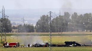 The wreckage of the Airbus A400M, which crashed 9 May near Seville, Spain.