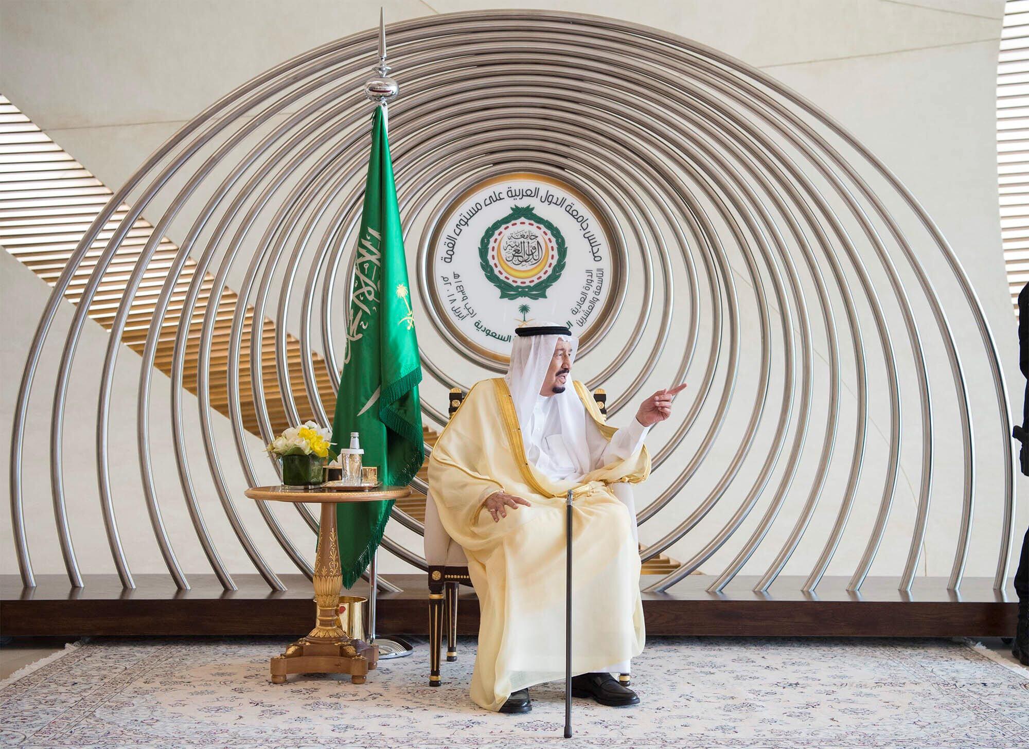 ملک سلمان پادشاه عربستان سعودی در اجلاس سالانۀ کشورهای عضو اتحادیۀ عرب