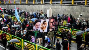 Cérémonie à l'occasion du 40ème anniversaire de la Révolution islamique en Iran, le 11 février 2019, à Téhéran.