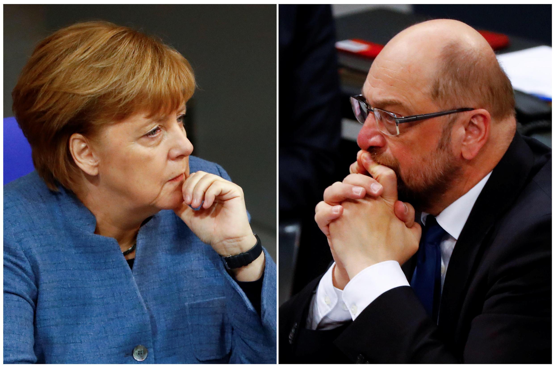 A fase de negociações para governo de coligação entre a chanceler alemã, Angela Merkel da CDU e o líder do SPD, Martin Schulz.