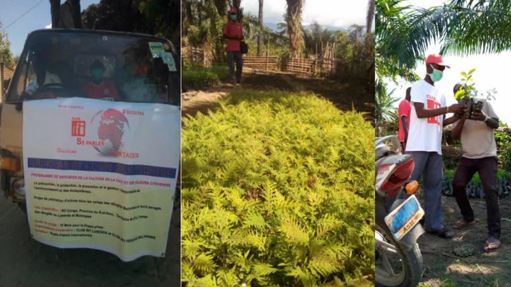 1) Affiche de l'opération. 2) A la pépinière. 3) Distribution de plants.