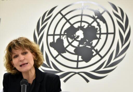 La relatora especial de la ONU sobre ejecuciones extrajudiciales, Agnès Callamard, habla durante una conferencia de prensa en San Salvador, el 5 de febrero de 2019