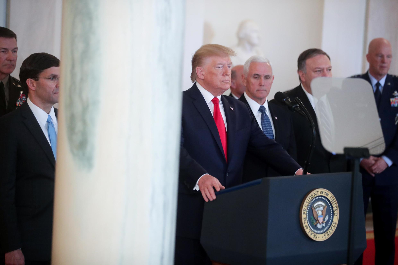 El presidente estadounidense Donald Trump en la Casa Blanca, el 8 de enero de 2020.