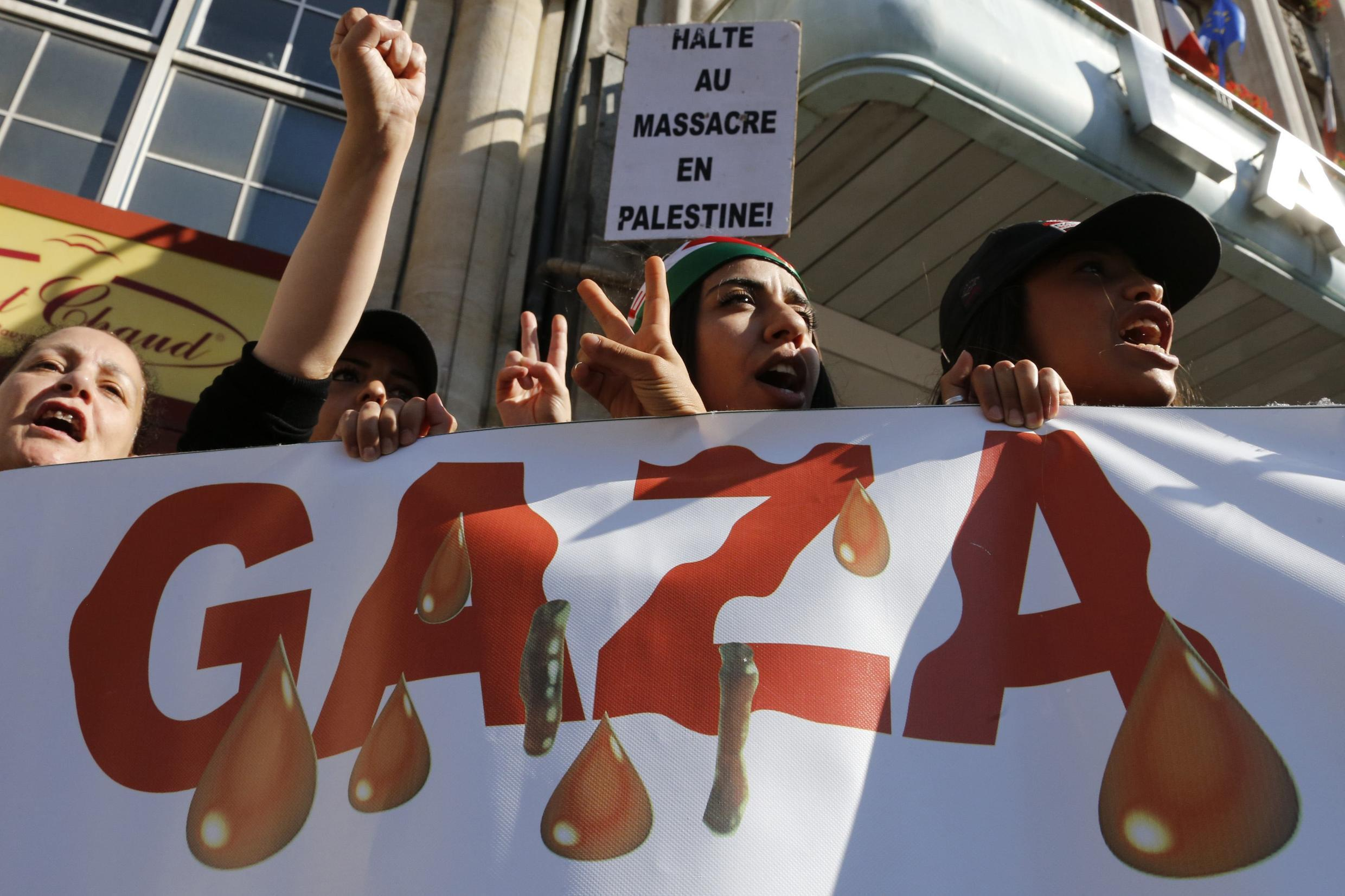 A demonstation against Israel's Gaza offensive in Lille, northern France, on Monday