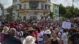 Several thousand people demonstrate in Fort-de-France, Martinique, on February 27, 2021 chlordecone
