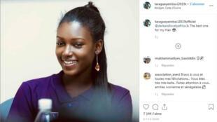 Capture d'écran du compte Instagram de Tara Gueye, Miss Côte d'Ivoire 2019.