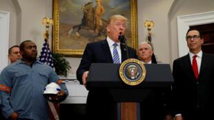 Presidente americano Donald Trump em discurso na Casa Branca, 8 de março de 2018