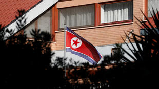 The flag of North Korea flutters in front of its embassy in Rome, Italy, January 3, 2019. REUTERS/Alessandro Bianchi