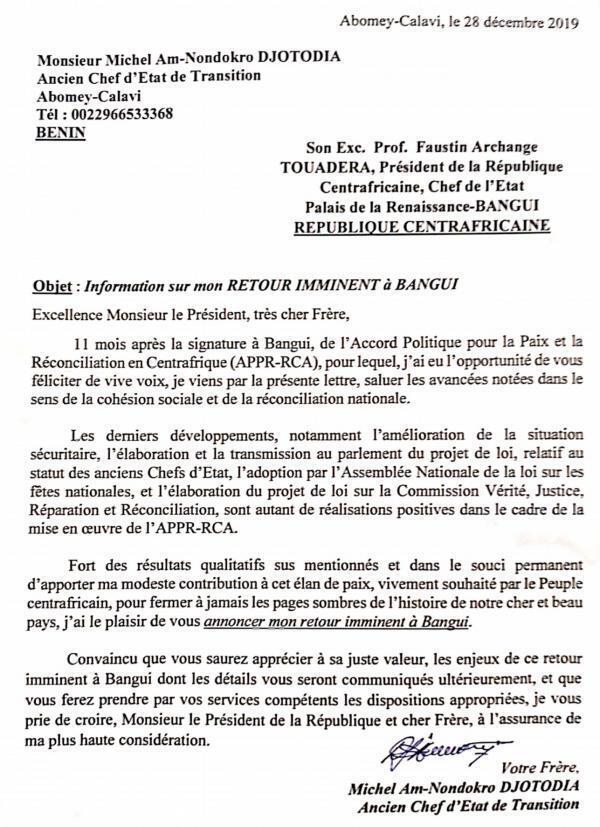 Lettre de Michel Djotodia au président Touadéra.