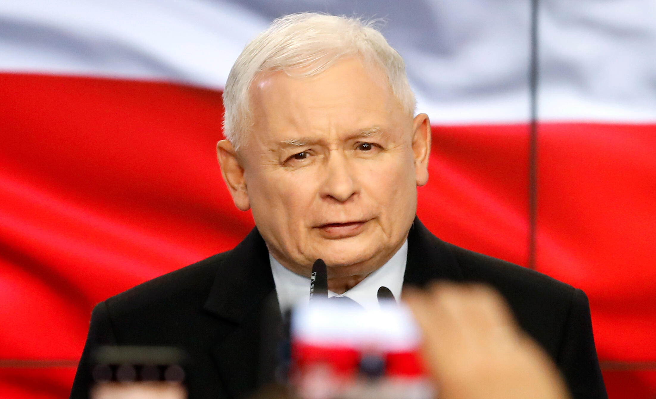 Le chef du PiS Jaroslaw Kaczynski, le 13 octobre 2019 à Varsovie, a regretté que son parti n'ait pas remporté la majorité au Sénat.