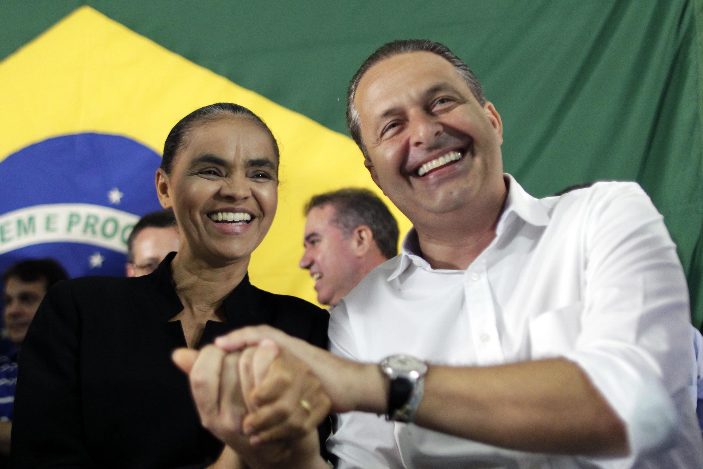 Marina Silva (e) é a vice da chapa do candidato à presidência Eduardo Campos (d), morto nesta quarta-feira em um acidente de avião.