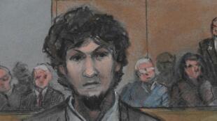 Джохар Царнаев после объявления приговора. Рисунок из зала суда.
